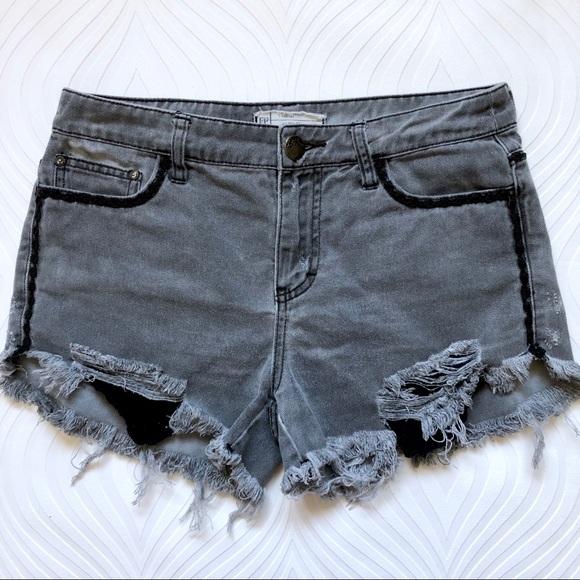 Free People Pants - Free People Gray Distressed Denim Shorts